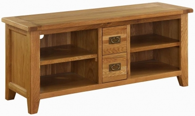 Vancouver Premium Solid Oak 2 Drawer TV Video Cabinet