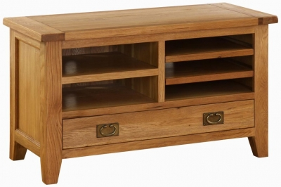 Vancouver Premium Solid Oak 1 Drawer TV Video Unit