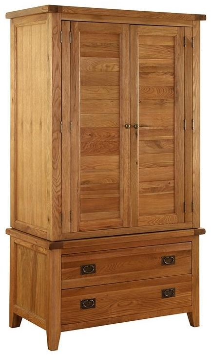 Vancouver Premium Solid Oak 2 Door 2 Drawer Gents Double Wardrobe