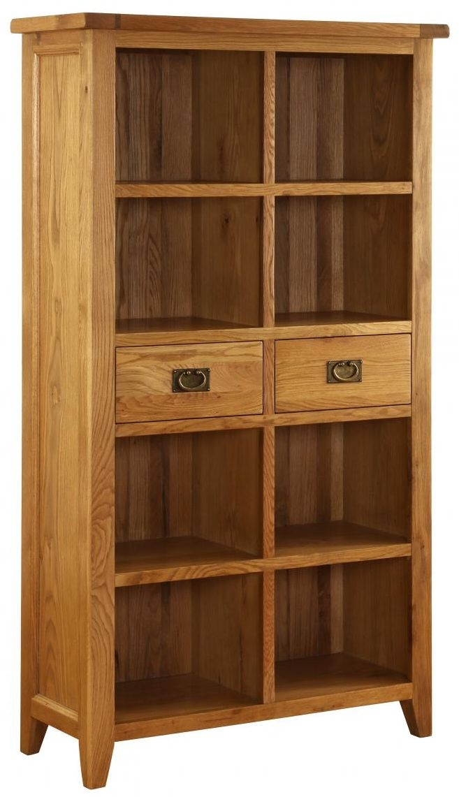 Vancouver Premium Solid Oak 2 Drawer Bookcase