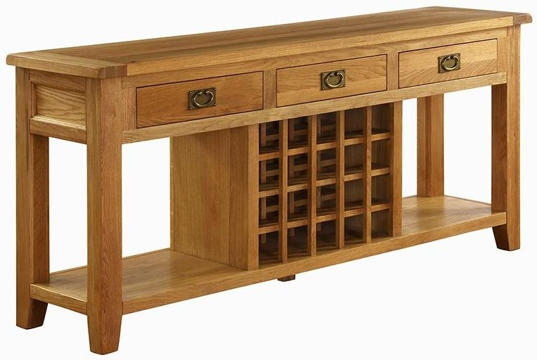 Vancouver Premium Solid Oak 3 Drawer Wine Table