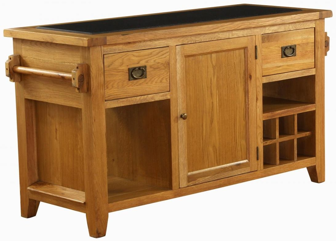 Vancouver premium solid oak kitchen island with granite top