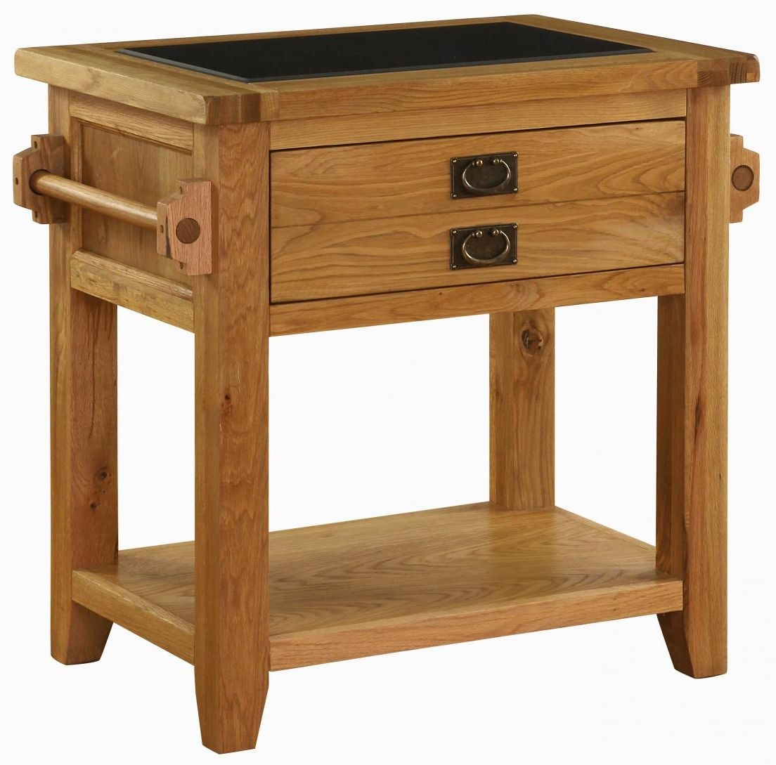 Vancouver Premium Solid Oak 1 Door Small Kitchen Island Unit with Granite Top