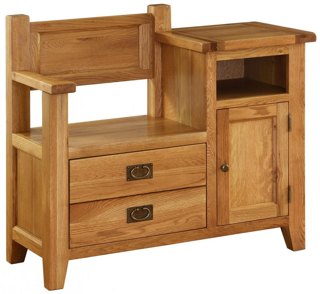 Vancouver Premium Oak Occasional Bench - 1 Door and 1 Drawer
