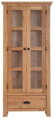 Vancouver Sawn Oak 2 Door 1 Drawer Glazed Display Cabinet