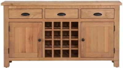Vancouver Sawn Oak 2 Door 3 Drawer Wine Table
