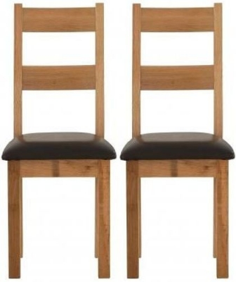 Vancouver Sawn Oak Dining Chair with Chocolate Leather Seat (Pair)