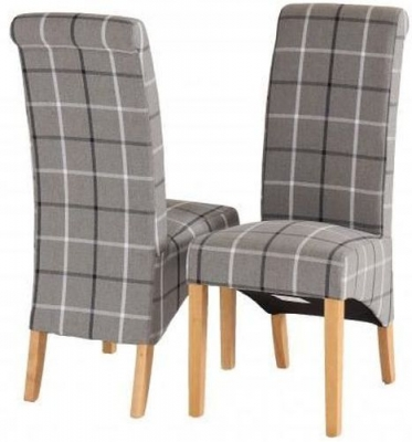 Vancouver Sawn Oak Grey Tartan Fabric Dining Chair (Pair)