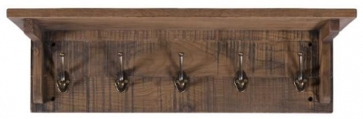 Vancouver Sawn Old Oak 5 Hooks Coat Rack