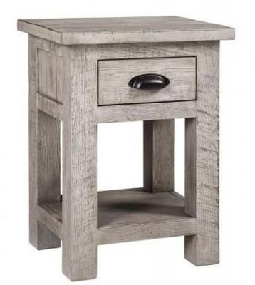 Vancouver Sawn Grey Washed Oak 1 Drawer Bedside Table