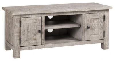 Vancouver Sawn Grey Washed Oak 2 Door TV Unit