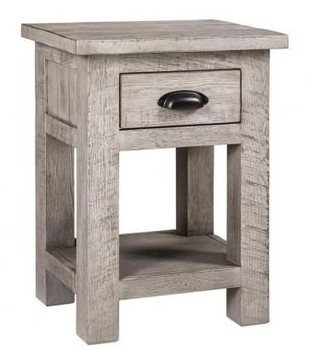 Vancouver Sawn Grey Washed Oak 1 Drawer Bedside Table