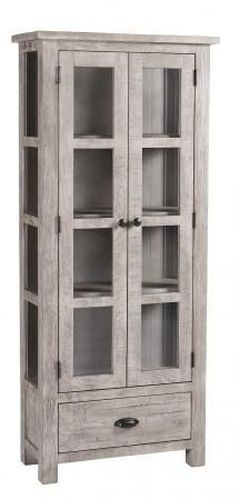 Vancouver Sawn Grey Washed Oak 2 Door 1 Drawer Glazed Display Cabinet