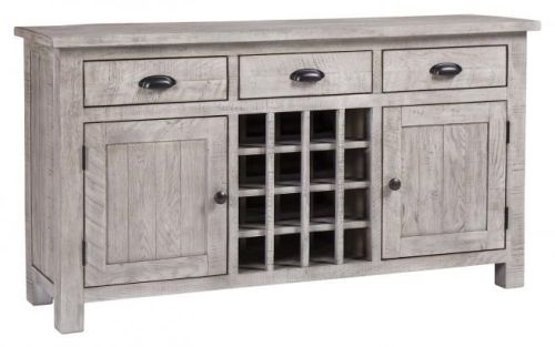 Vancouver Sawn Grey Washed Oak 2 Door 3 Drawer Sideboard with Wine Rack