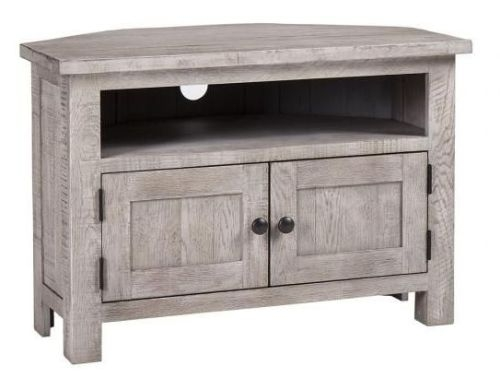 Vancouver Sawn Grey Washed Oak 2 Door Corner TV Unit