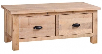 Vancouver Sawn White Washed Oak 2 Drawer Large Coffee Table