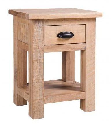 Vancouver Sawn White Washed Oak 1 Drawer Bedside Table