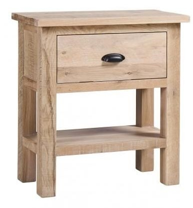 Vancouver Sawn White Washed Oak 1 Drawer Console Table