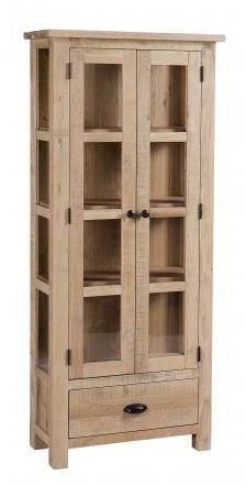 Vancouver Sawn White Washed Oak 2 Door 1 Drawer Glazed Display Cabinet