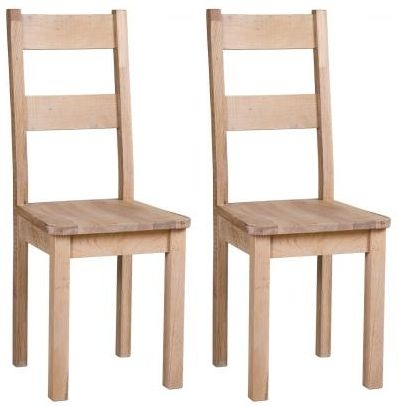 Vancouver Sawn White Washed Oak Dining Chair With Timber Seat (Pair)
