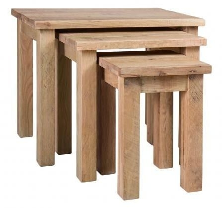 Vancouver Sawn White Washed Oak Nest of 3 Tables
