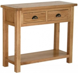 Vancouver Select Oak Hall Table with 2 Drawer