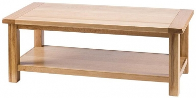 Vancouver Select Oak Large Coffee Table - Rectangular with Shelf