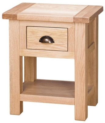 Vancouver Select Oak Side Table - 1 Drawer and Shelf
