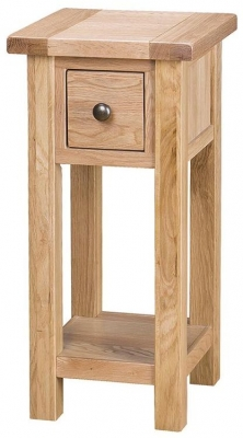 Vancouver Select Oak Tall Side Table - 1 Drawer and Shelf