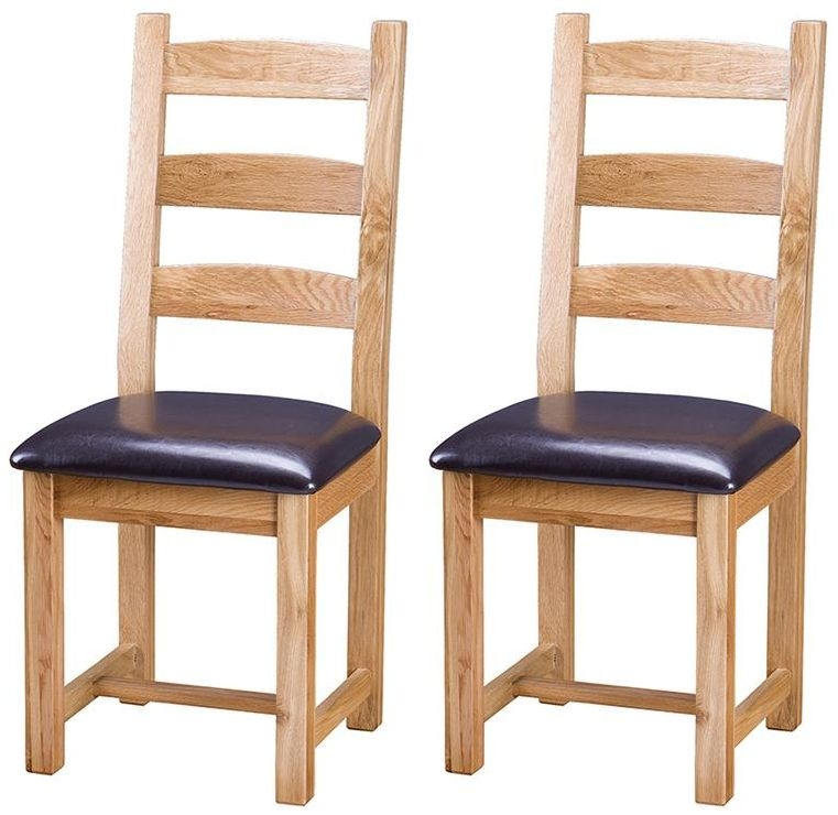 Vancouver Select Oak Dining Chair with Faux Leather Seat (Pair)