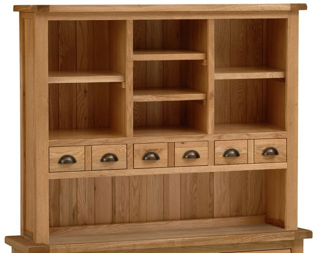 Vancouver Select Oak Hutch with 6 Drawer 4 Shelves