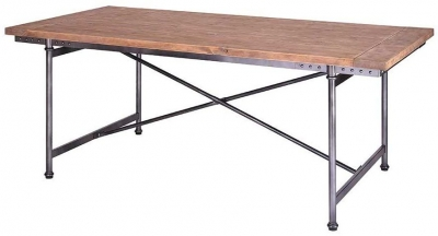 Vintage Aviator Iron Pine Top Dining Table TMCZ-007-L