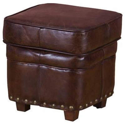 Vintage Aviator Leather Pouffe with Wooden Feet