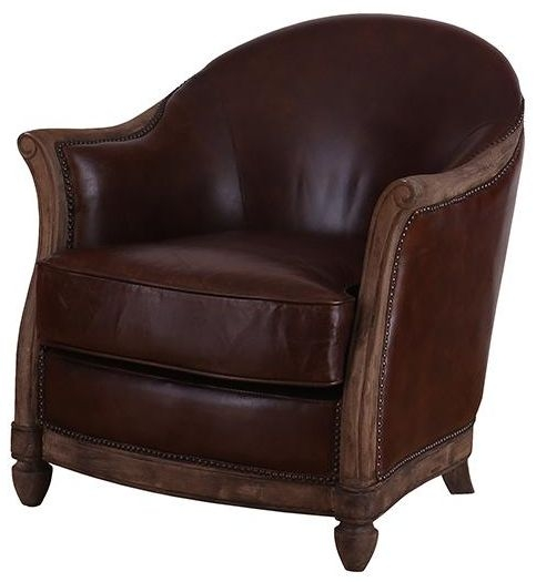 Vintage Aviator One Seater Leather Armchair with Wooden Feet