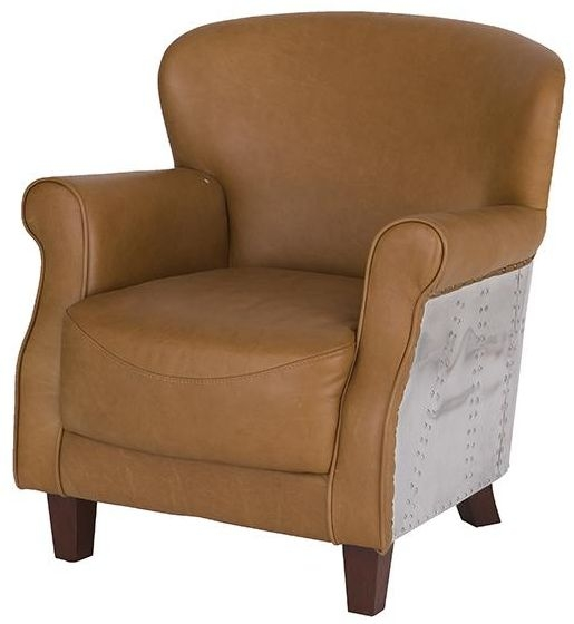 Vintage Aviator One Seater Light Brown Leather and Aluminium Armchair