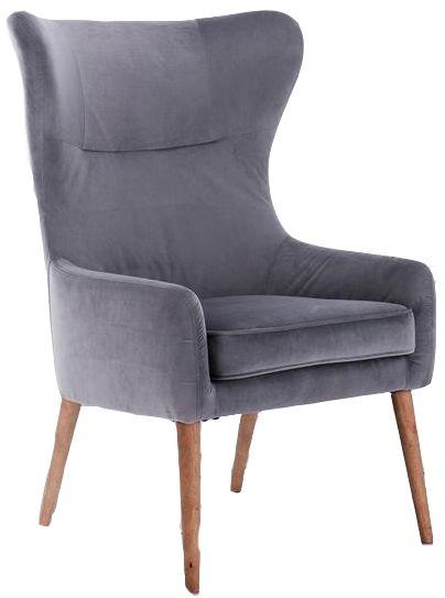 Birlea Grey Velvet Bow Armchair