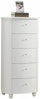 Birlea Aztec White Gloss Chest of Drawer - 5 Drawer Narrow