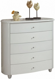 Birlea Aztec White Gloss Chest of Drawer - 5 Drawer Wide
