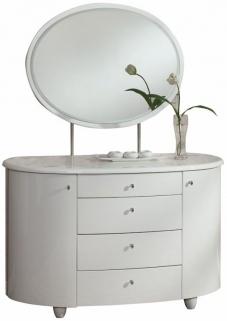 Birlea Aztec White Gloss Dresser with Mirror - 4 Drawer