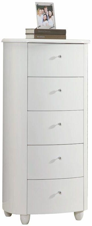 Birlea Aztec White Gloss Chest of Drawer - 5 Drawer Narrow