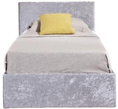 Birlea Berlin Ottoman Steel Crushed Velvet Fabric Bed