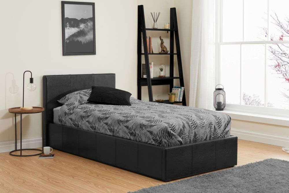 Birlea Berlin Black Faux Leather Ottoman Bed