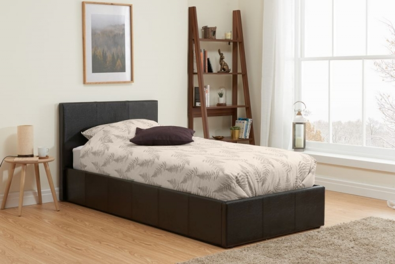 Birlea Berlin Brown Faux Leather Ottoman Bed