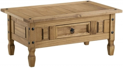 Clearance Birlea Corona Mexican Waxed Pine Coffee Table - 1 Drawer - B22