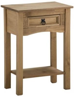 Clearance Birlea Corona Mexican Waxed Pine Console Table with Shelf - 1 Drawer - B27