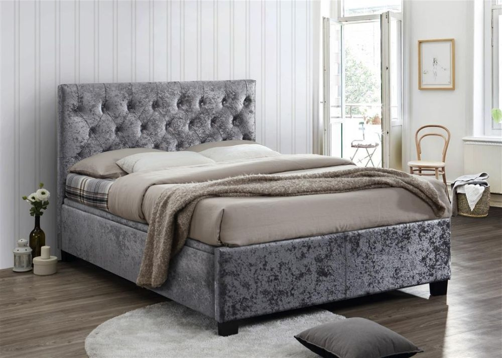 Birlea Cologne Steel Crushed Velvet Ottoman Bed