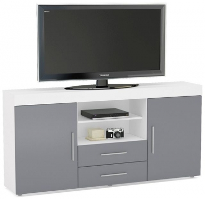 Birlea Edgeware Large TV Unit - White and Grey