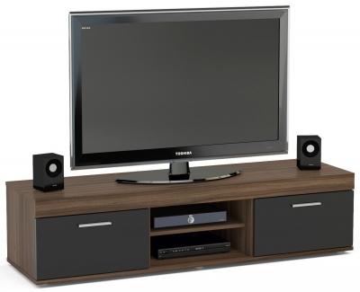 Birlea Edgeware Medium TV Unit - Walnut and Black