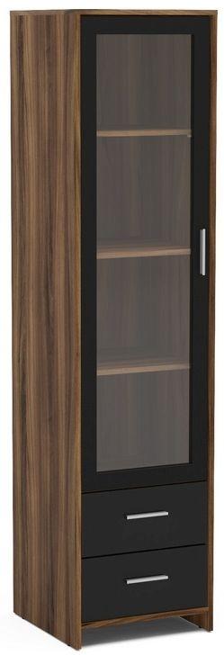 Birlea Edgeware Display Cabinet - Walnut and Black