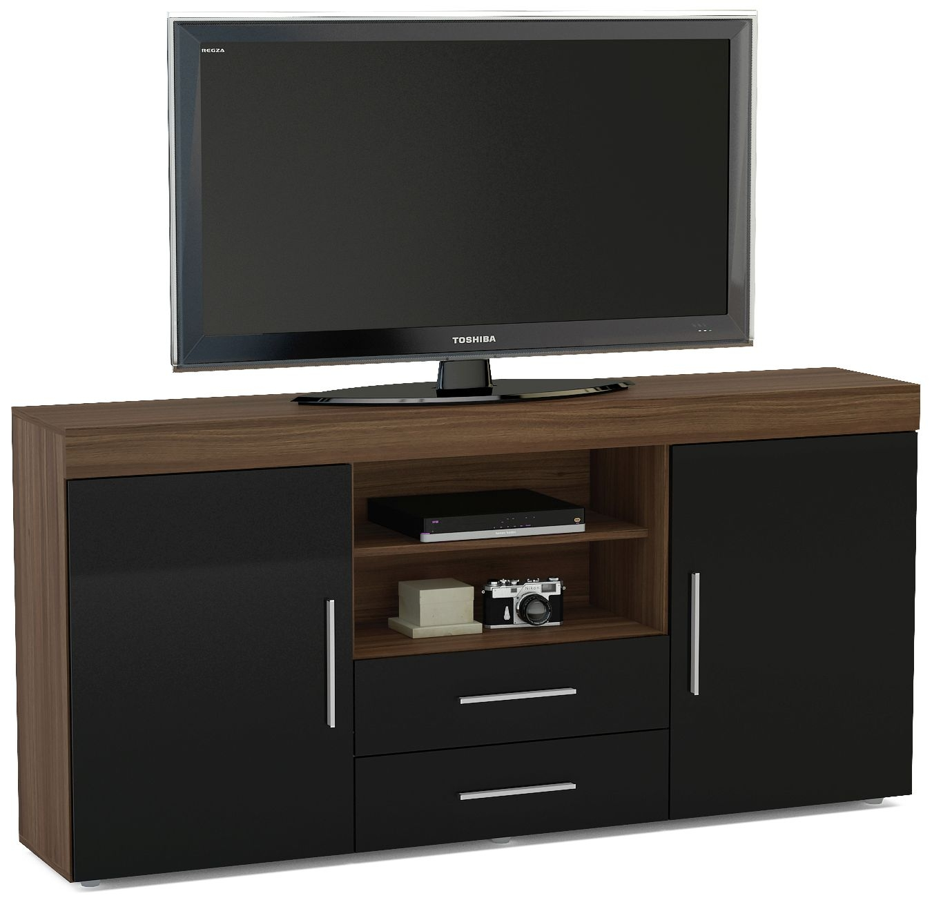 Birlea Edgeware Large TV Unit - Walnut and Black